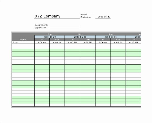 Excel Time Card Template Unique 7 Printable Time Card Templates Doc Excel Pdf