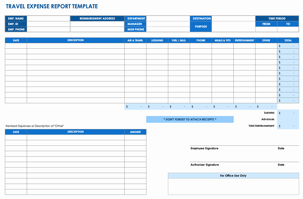 Excel Travel Expense Template Awesome Free Expense Report Templates Smartsheet
