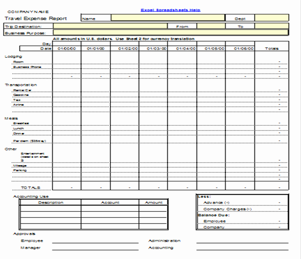 Excel Travel Expense Template New Excel Spreadsheets Help Travel Expense Report Template
