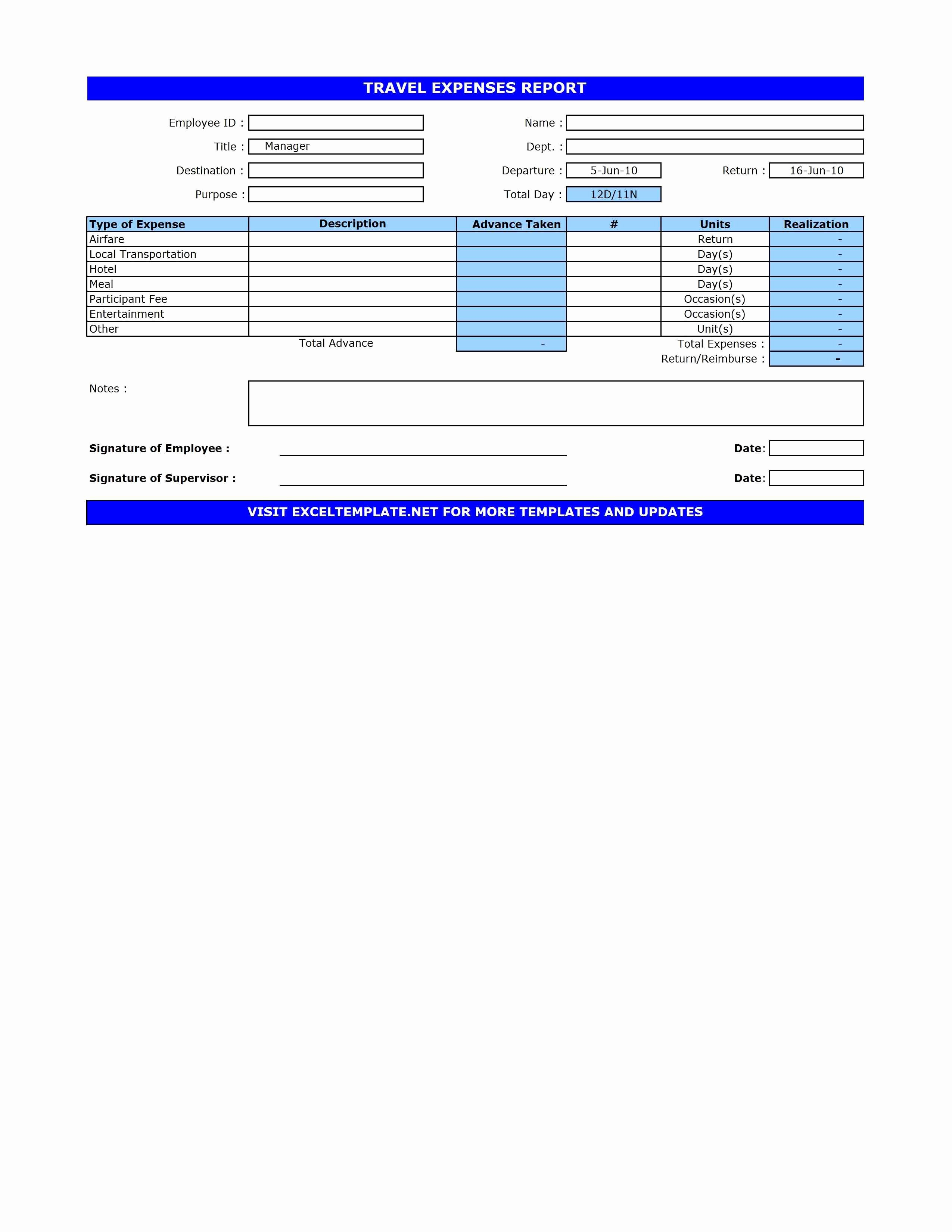 Excel Travel Expense Template New Travel Expenses Report Template