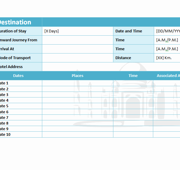 Excel Travel Itinerary Template Awesome Travel Itinerary Template My Excel Templates