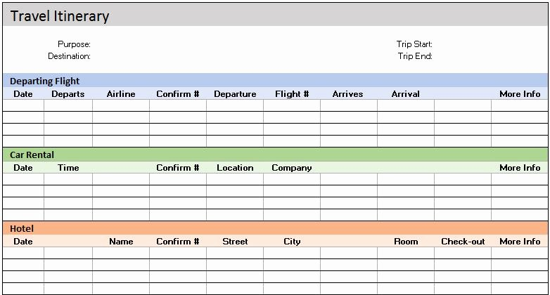 Excel Travel Itinerary Template Fresh Free Accounting Templates In Excel