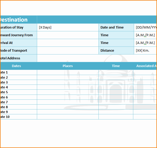 Excel Travel Itinerary Template Inspirational 5 Travel Itinerary Template Excel