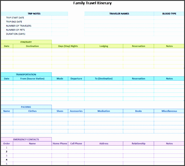 Excel Travel Itinerary Template Lovely 8 Camping Trip Planner Template In Excel