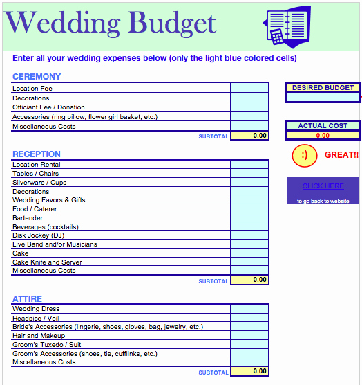 Excel Wedding Budget Template Awesome Wedding Bud Template