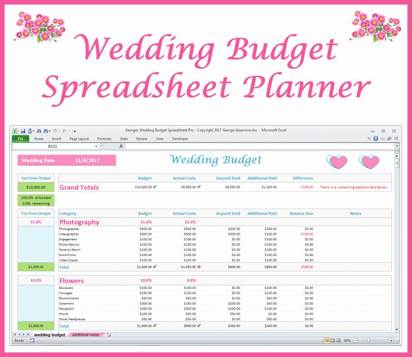 Excel Wedding Budget Template Awesome Wedding Planning Bud Worksheet Spreadsheet Excel