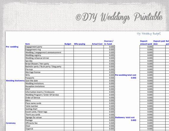 foglio di calcolo di bilancio nozze