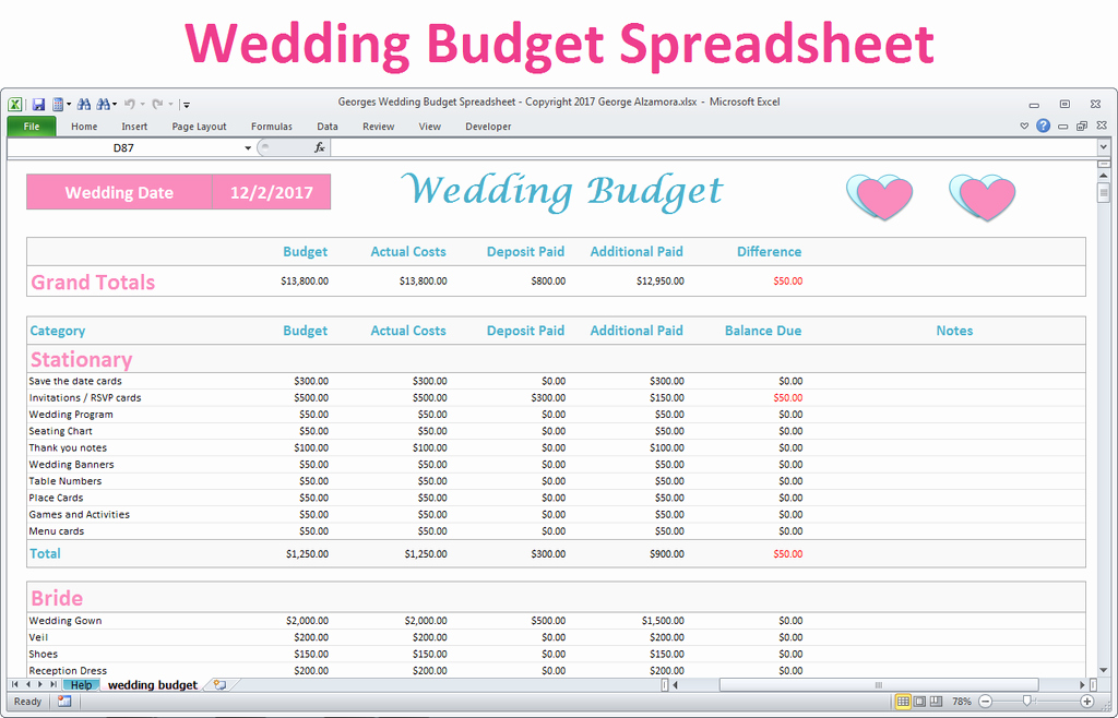 Excel Wedding Budget Template Elegant Excel Wedding Bud Planner Spreadsheet Basic Version