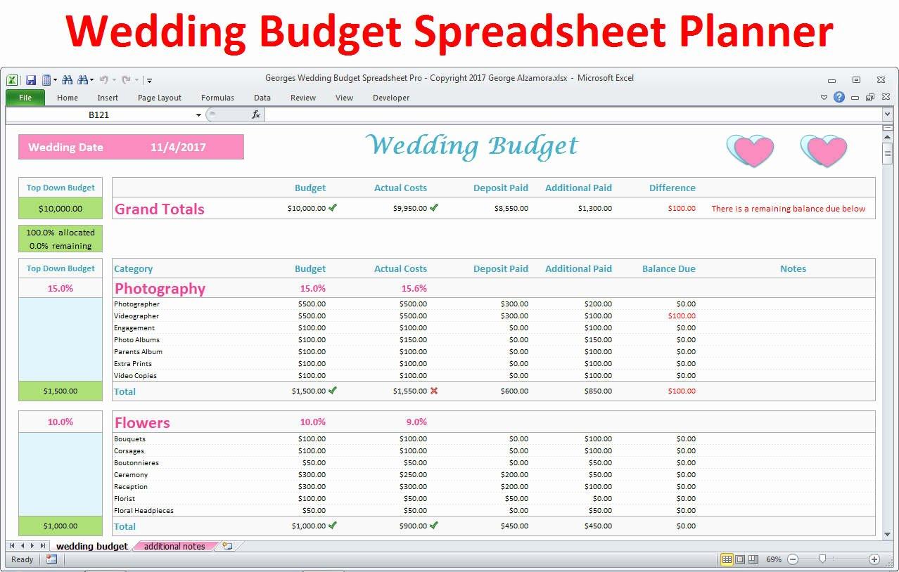 Excel Wedding Budget Template Fresh Wedding Planner Bud Template Excel Spreadsheet Wedding