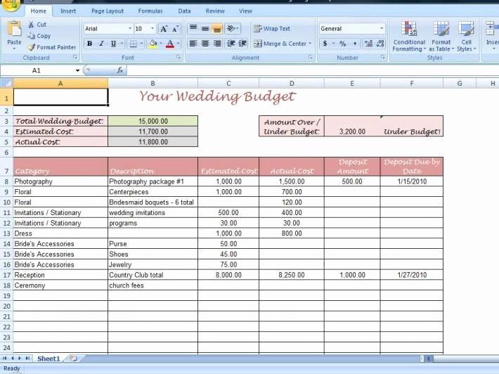 Excel Wedding Budget Template Luxury Wedding Bud Excel Spreadsheet as Debt Snowball