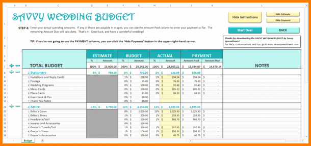 Excel Wedding Budget Template New 4 Wedding Bud Spreadsheet Excel