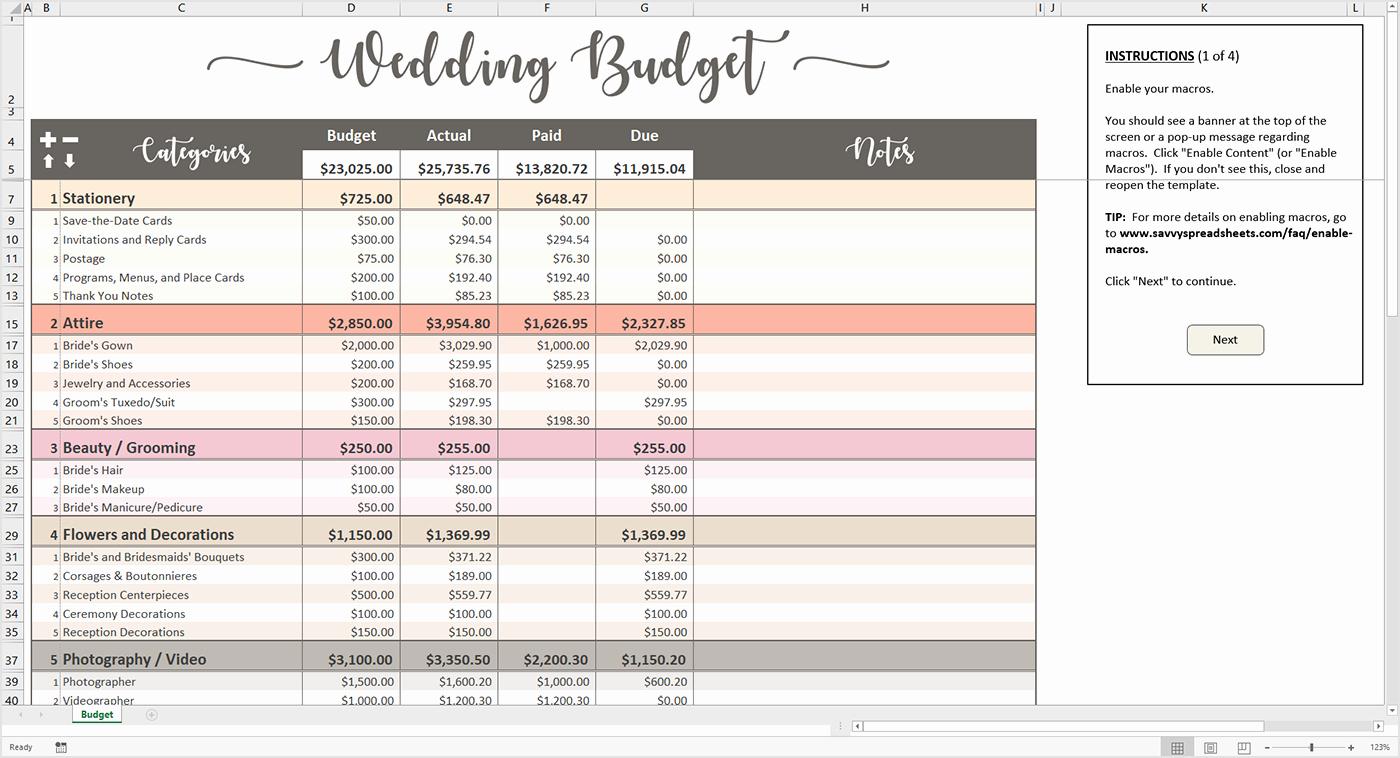 Excel Wedding Budget Template New Wedding Bud Spreadsheets as Excel Spreadsheet Templates