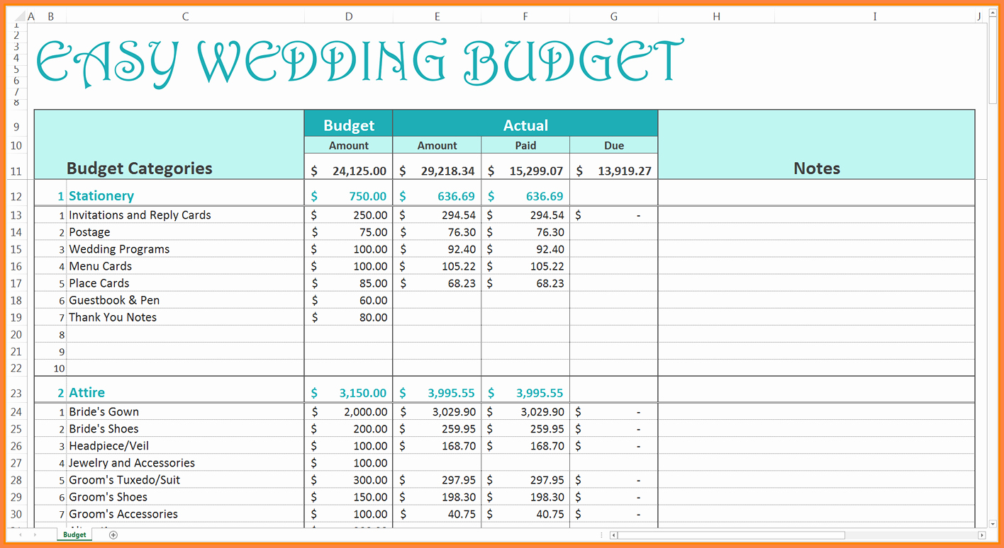 Excel Wedding Budget Template Unique 9 Wedding Bud Excel Spreadsheet