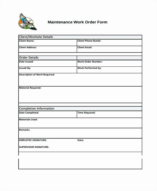 Excel Work order Template Beautiful Work Request Template Excel Maintenance Work order