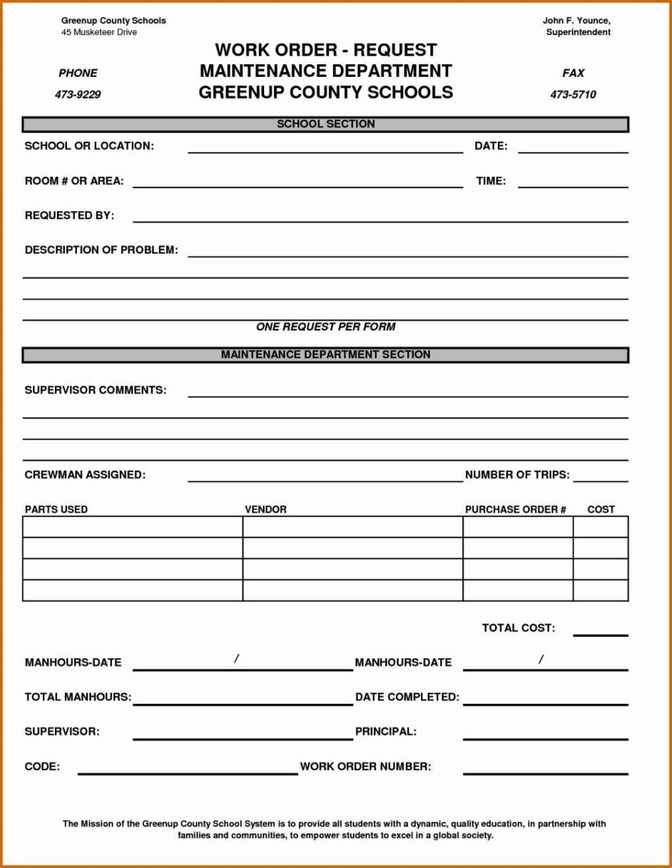 Excel Work order Template Best Of Maintenance Work order form Template Sampletemplatess