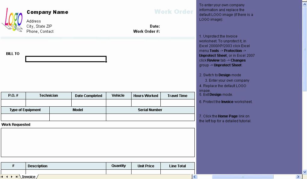 Excel Work order Template Best Of Work order Template Uniform Invoice software