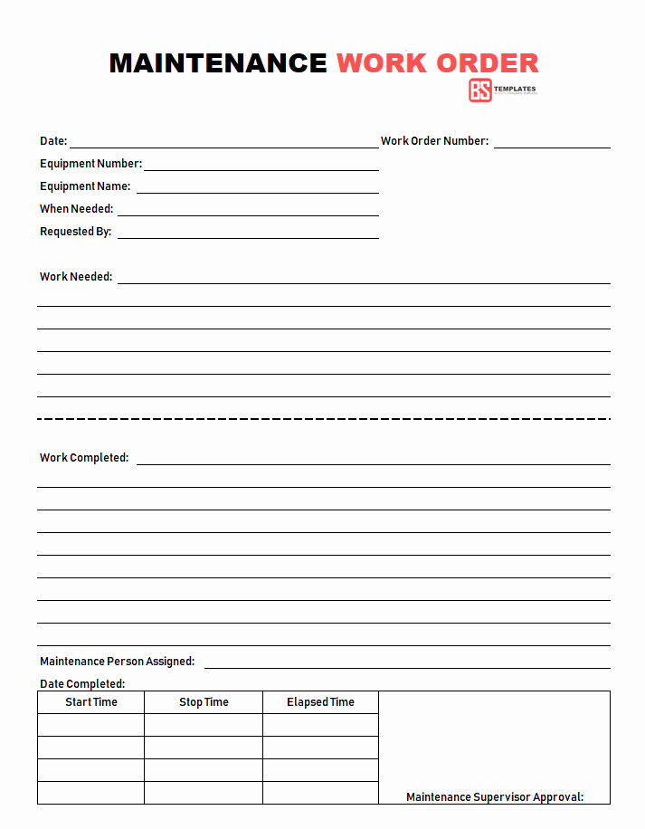 Excel Work order Template Fresh Work order