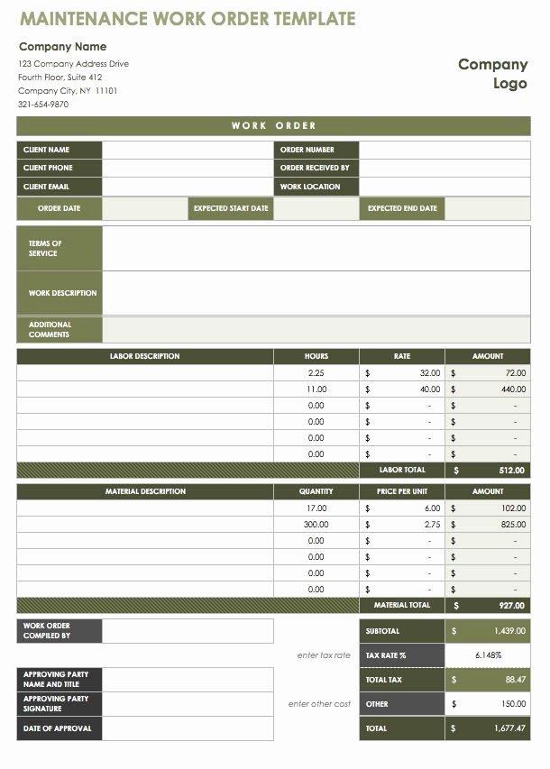 Excel Work order Template Luxury 15 Free Work order Templates