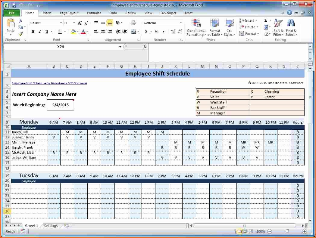 Excel Work Schedule Template Best Of Microsoft Excel Weekly Employee Schedule Template Other