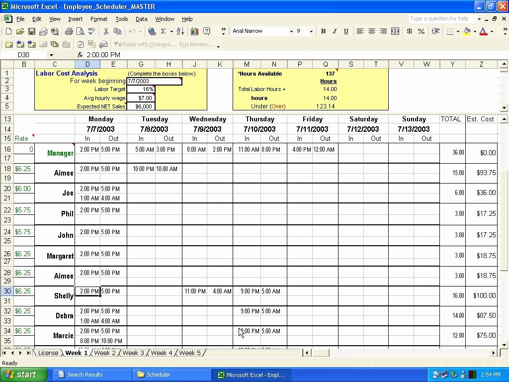 "Excel Work Schedule Template Fresh Search Results for ""excel Employee Schedule Template"