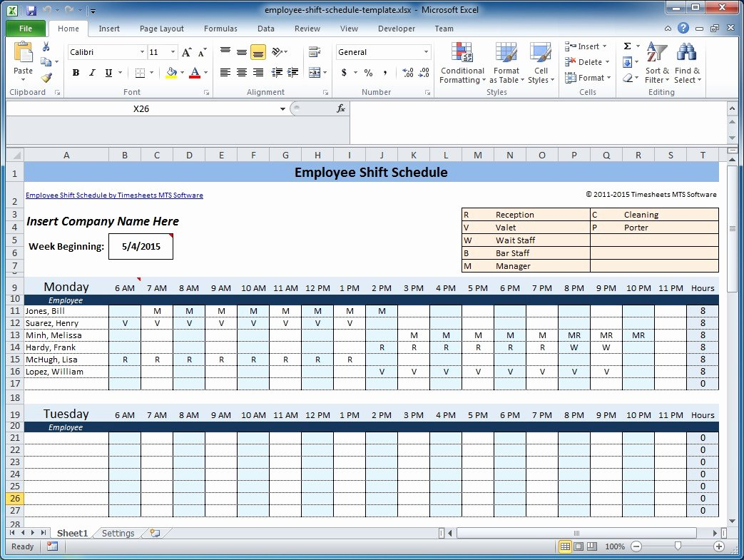 Excel Work Schedule Template Fresh Weekly Employee Shift Schedule Template Excel