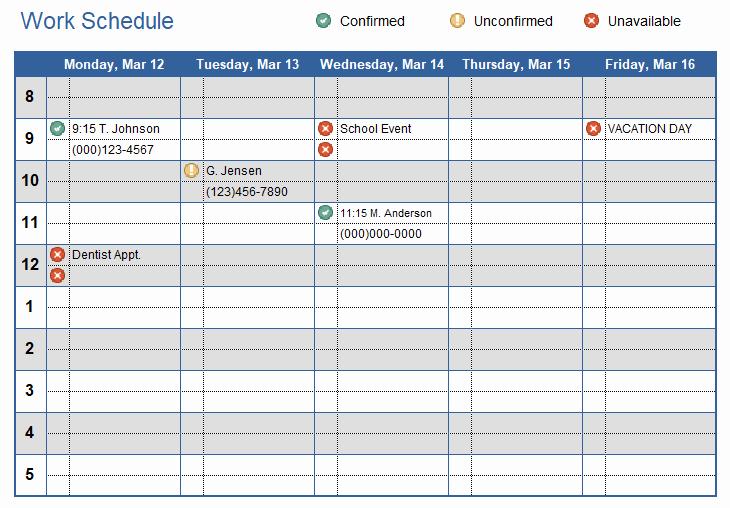 Excel Work Schedule Template Unique Work Schedule Template for Excel