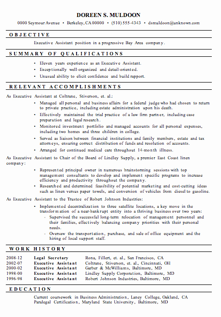 Executive Hybrid Resume Template Best Of Resume Sample Executive assistant