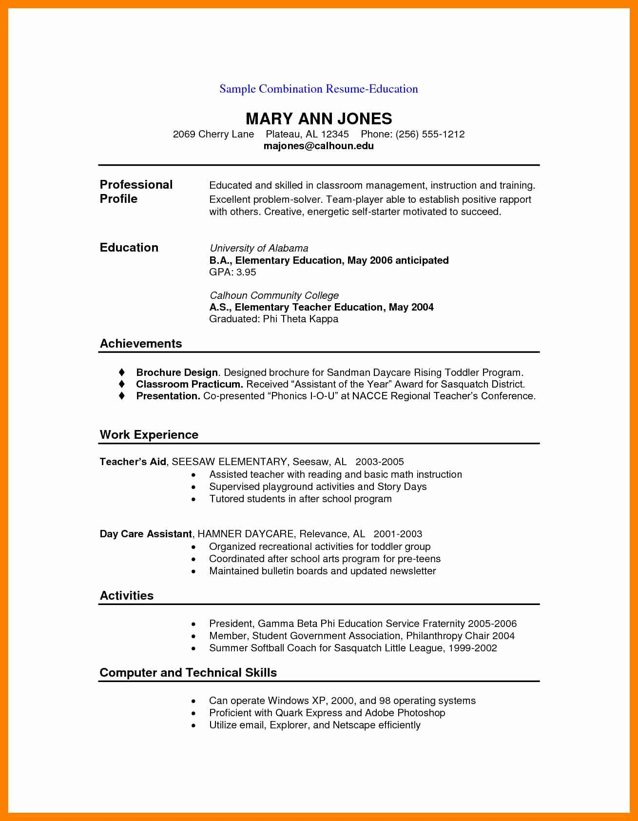 Executive Hybrid Resume Template Luxury 9 Hybrid Resume Example