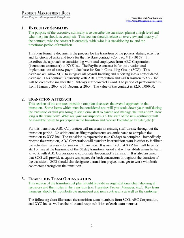 Executive Transition Plan Template Luxury Transition Out Plan