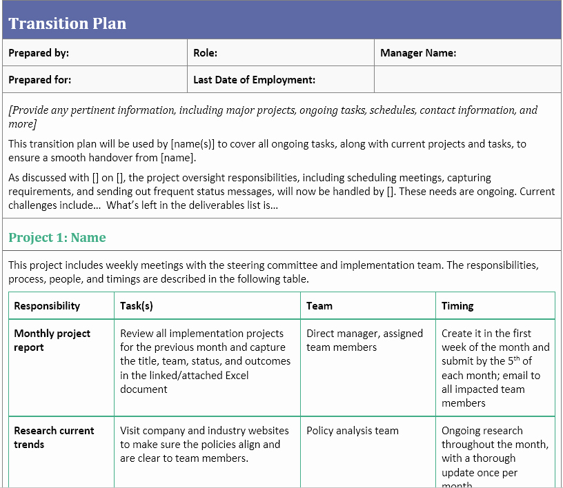 Executive Transition Plan Template Luxury Transition Plan Template for when You Ve Resigned
