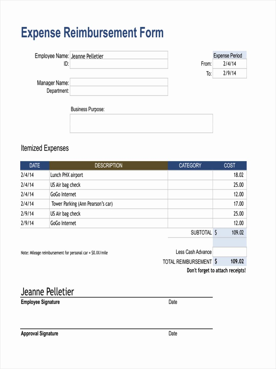 Expense Reimbursement form Template Awesome 18 Expense Reimbursement forms In Pdf