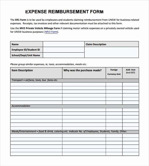 Expense Reimbursement form Template Best Of Expense Reimbursement forms Find Word Templates