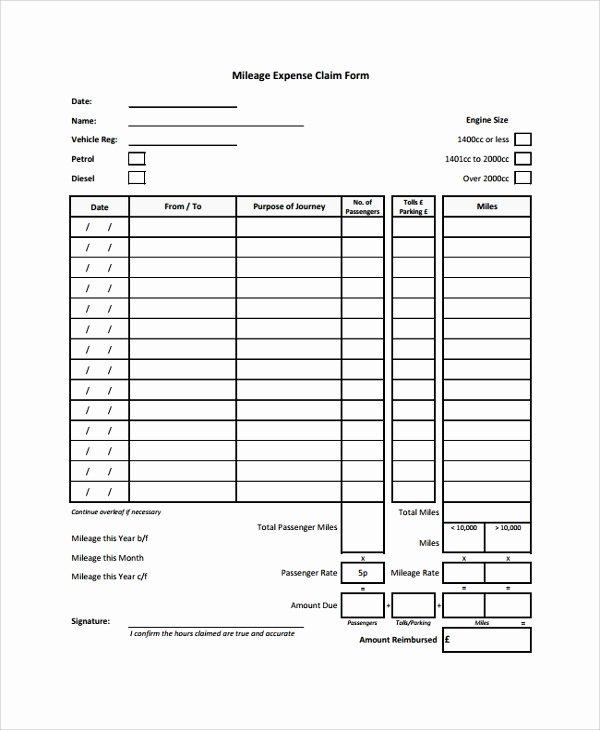 Expense Reimbursement form Template Elegant 8 Sample Expense forms