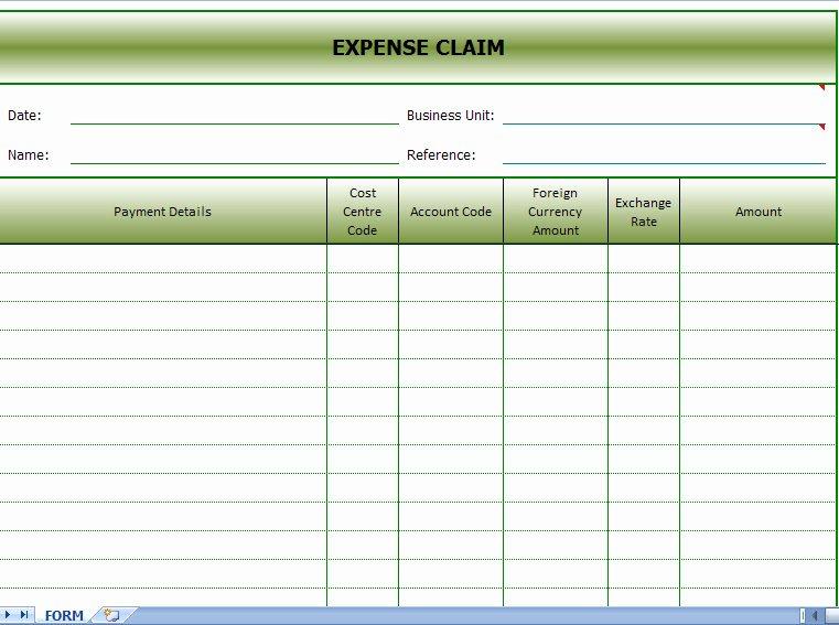 Expense Reimbursement form Template Elegant Expense Claims form
