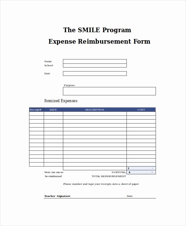 Expense Reimbursement form Template Fresh Excel form Template 6 Free Excel Document Downloads