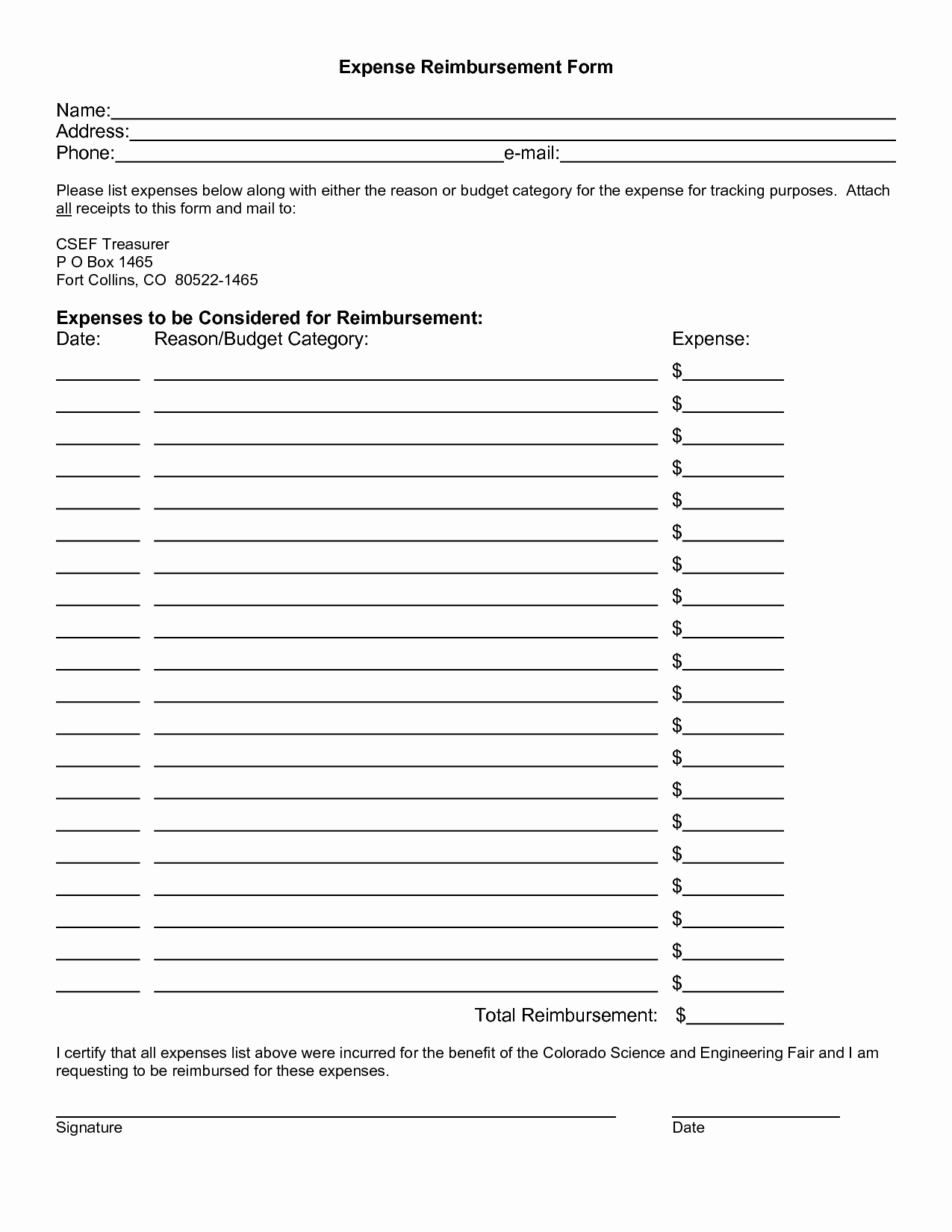 Expense Reimbursement form Template Fresh Expense Reimbursement Template Portablegasgrillweber
