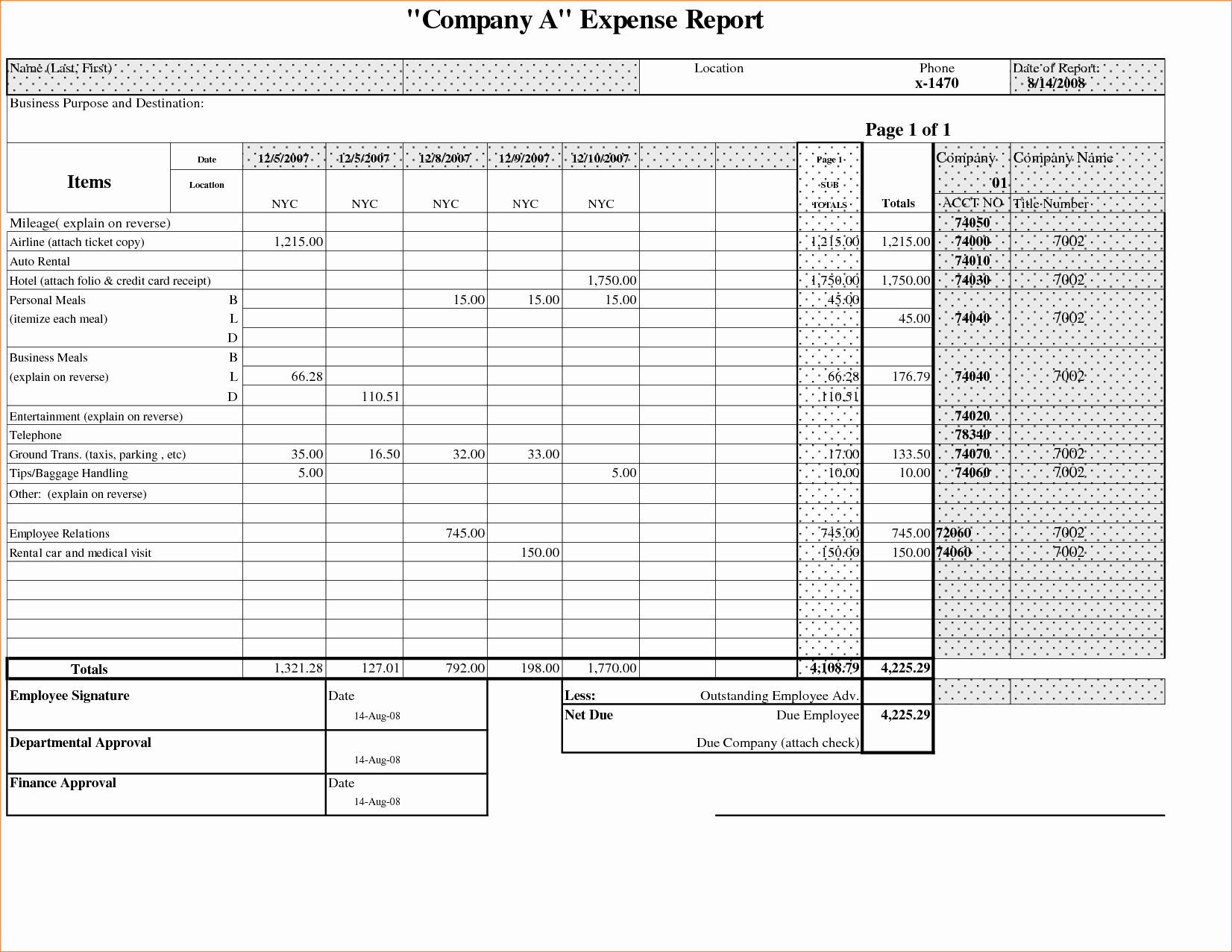 Expense Report Excel Template Beautiful 7 Expense Report Template Excelreport Template Document