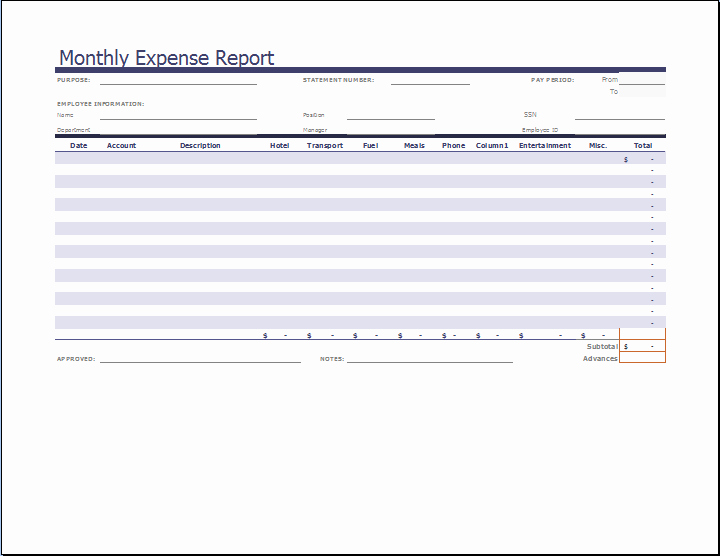 Expense Report Excel Template Fresh Ms Excel Monthly Expense Report Template