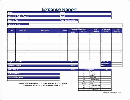 Expense Report form Template Beautiful Free Detailed Contractor International Travel Expense