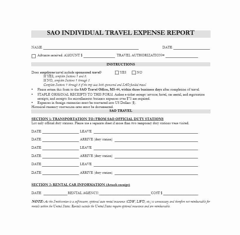 Expense Report form Template Best Of 46 Travel Expense Report forms & Templates Template Archive