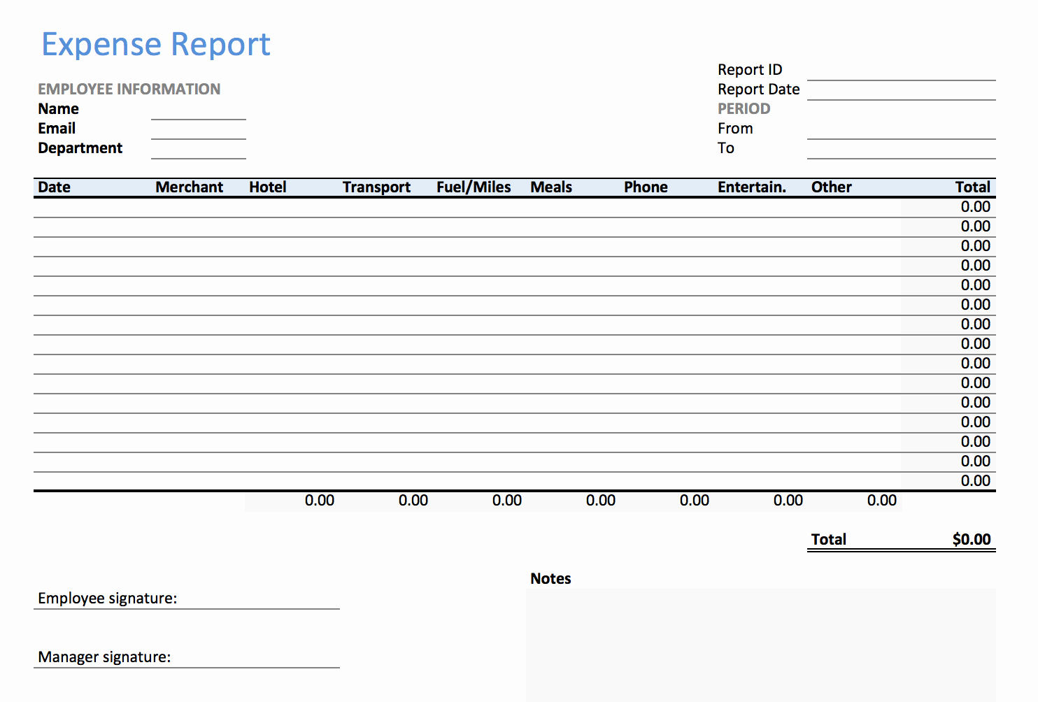 Expense Report form Template Elegant Excel Expense Report Template Keepek
