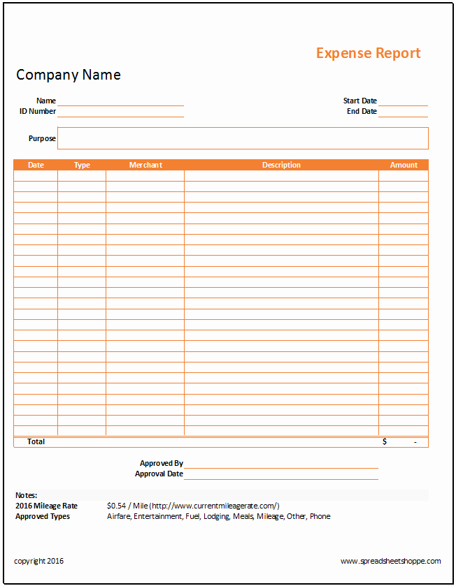 Expense Report form Template Inspirational Simple Expense Report Template Spreadsheetshoppe
