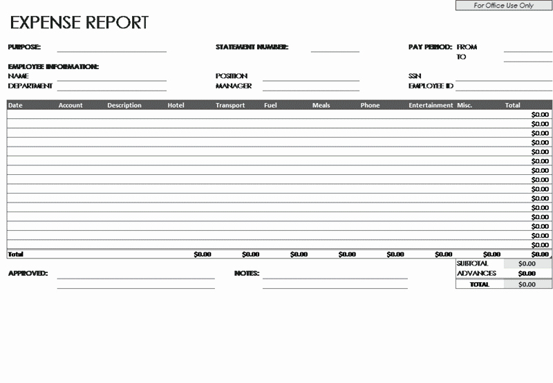 Expense Report Template Excel Luxury Download Employee Expense Report Template