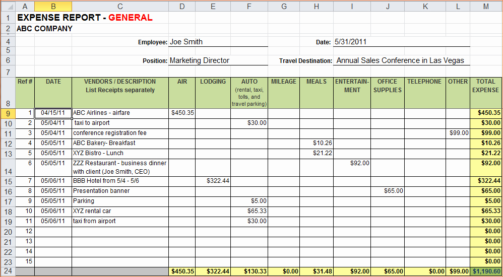 Expense Report Template Excel New 7 Expense Report Template Excelreport Template Document