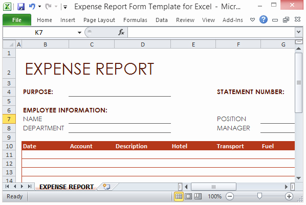 Expense Report Template Excel Unique Expense Report form Template for Excel