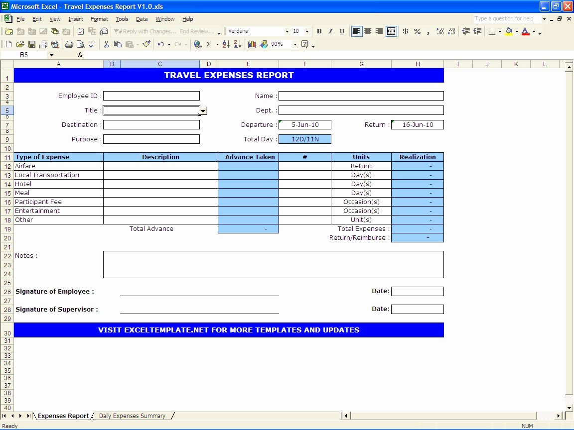 Expense Report Template Excel Unique Travel Expenses Report