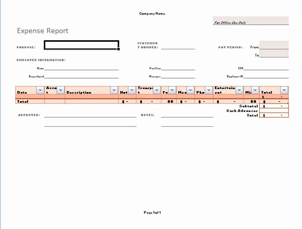 Expense Report Template Word Awesome Expense Report Template Microsoft Word Templates