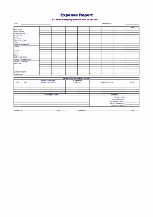 Expense Report Template Word New Blank Expense Report Mughals