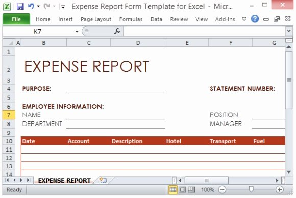 Expenses Report Template Excel Beautiful Expense Report form Template for Excel