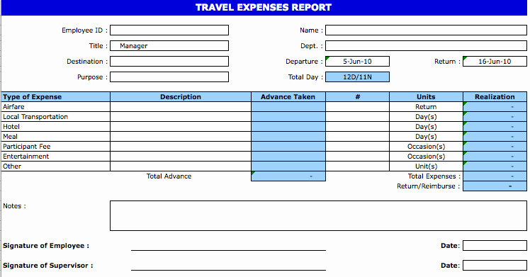 Expenses Report Template Excel Lovely Excel Template Expense Report